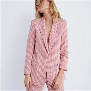 NWT Zara Gingham Plaid Pink Blazer